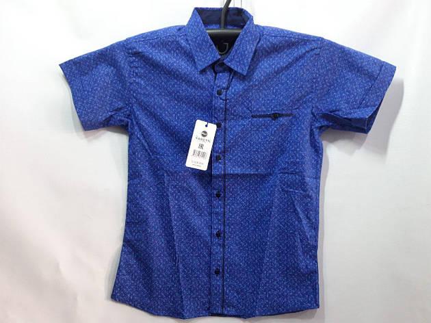Детская рубашка для мальчика в школу синяя р. 7-12 лет опт, фото 2