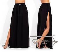 Модная яркая женская летняя длинная юбка в пол с высоким разрезом