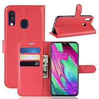 Чехол IETP для Samsung A40 2019 / A405F книжка кожа PU красный