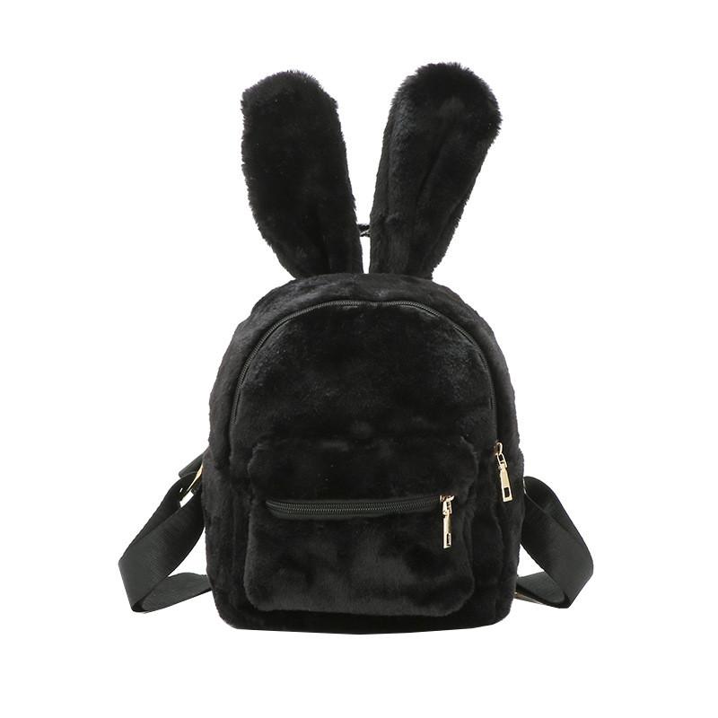 Меховой женский рюкзак зайчик Bobby Bunny черный eps-8254