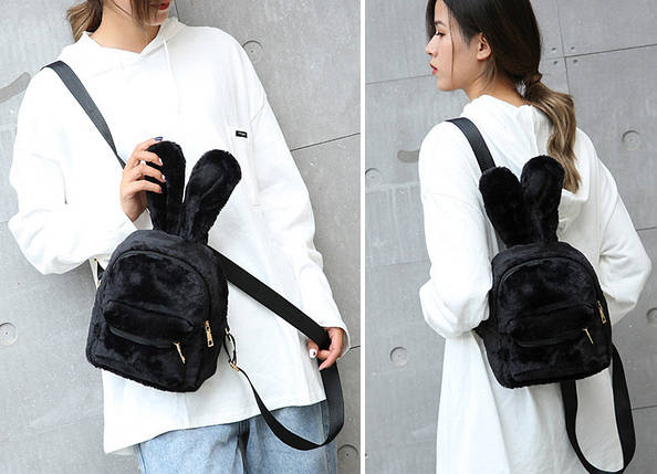 Меховой женский рюкзак зайчик Bobby Bunny черный eps-8254, фото 2