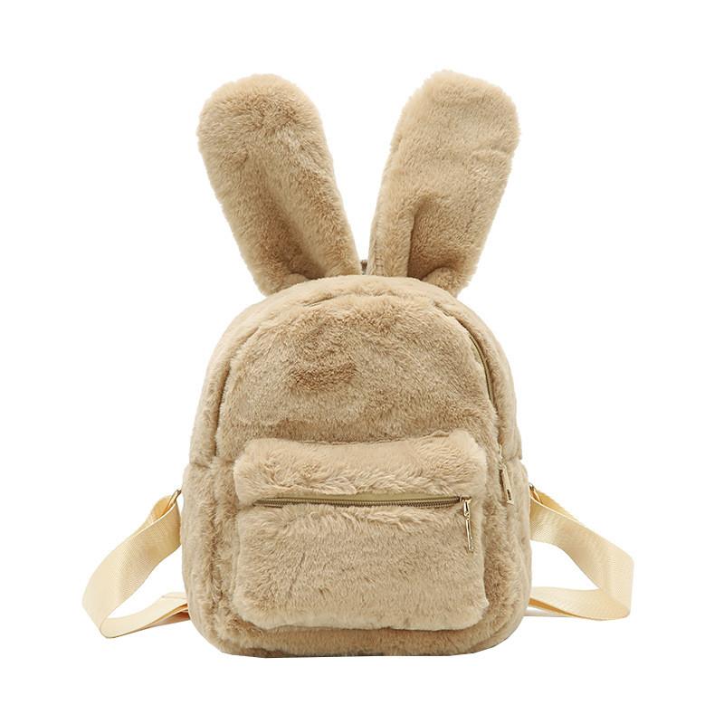 Меховой женский рюкзак зайчик Bobby Bunny молочный eps-8255