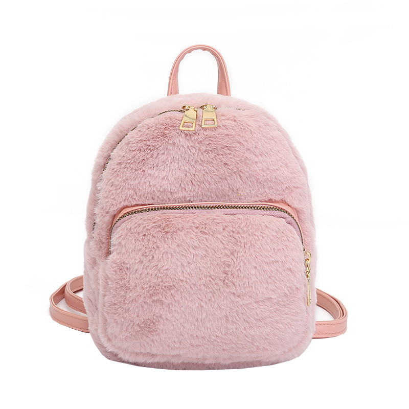 Меховой женский рюкзак Bobby Crown розовый eps-8258