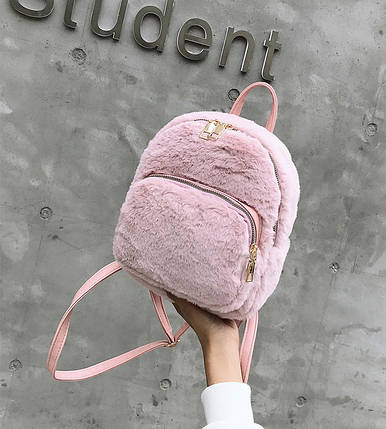 Меховой женский рюкзак Bobby Crown розовый eps-8258, фото 2