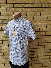 Рубашка мужская летняя стрейчевая коттоновая  брендовая высокого качества FOSSIYA, Турция, фото 3