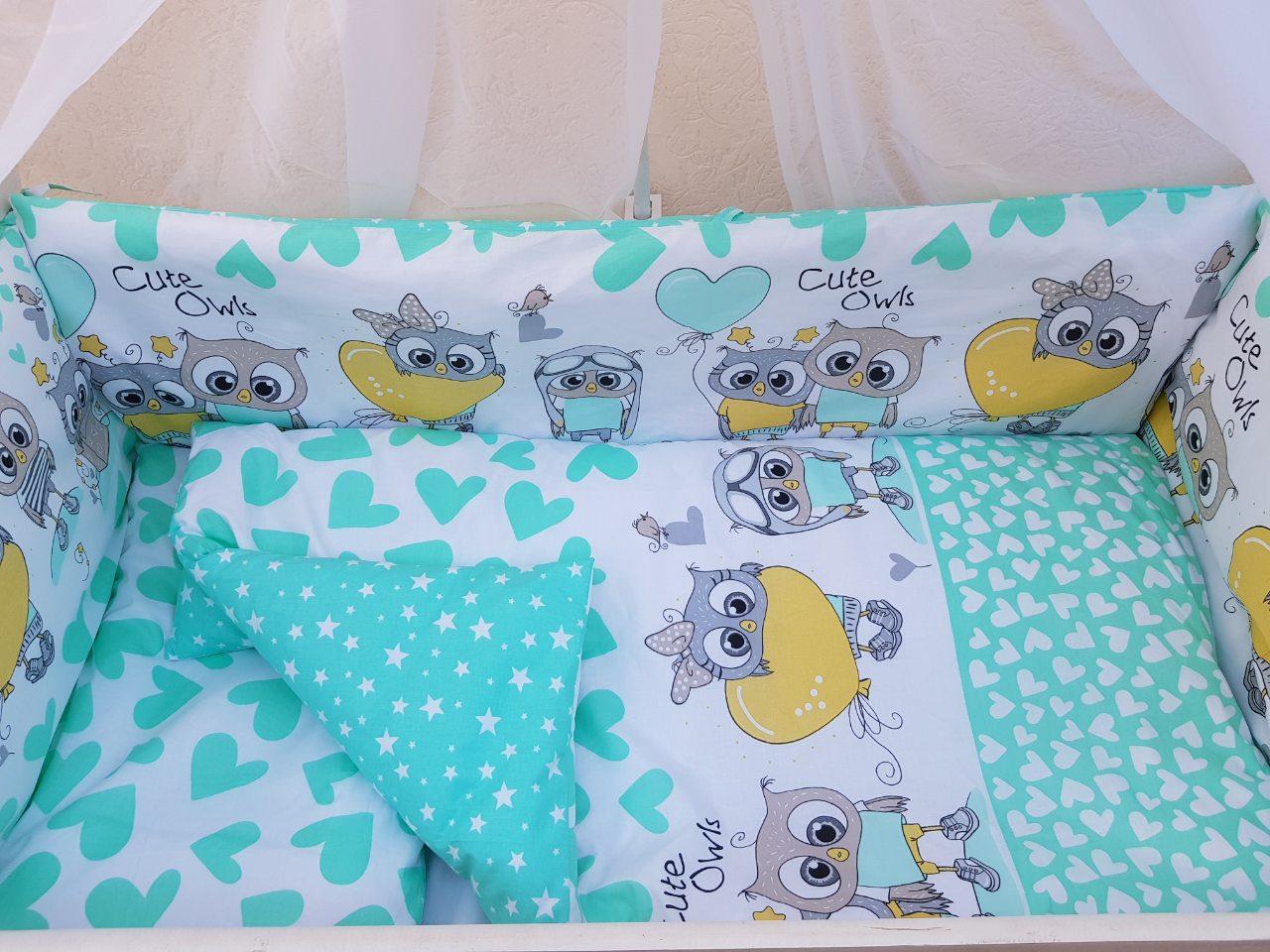 Детский постельный набор в кроватку Совушки