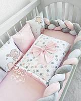 Косичка серый, белый, розовый