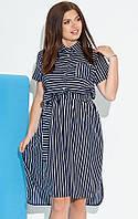 Асимметричное платье-рубашка в мелкую полоску темно-синего цвета. Размеры 50-56