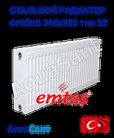 Стальной радиатор Emtas 300/600 тип 22 боковое подключение