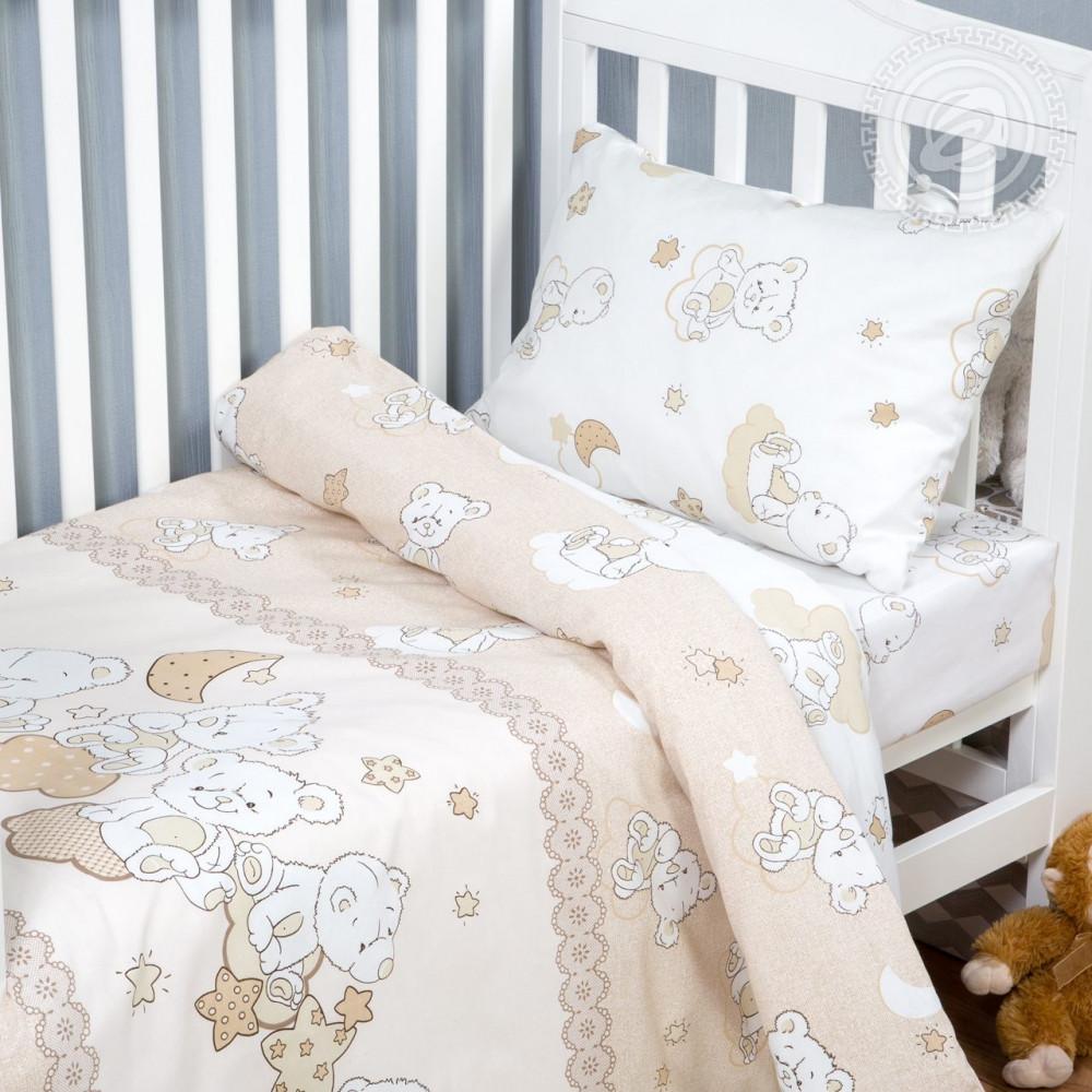 Постельное белье Медвежата поплин ТМ Комфорт текстиль  (в детскую кроватку)