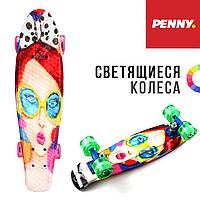 """PENNY BOARD (пенни борд) 22″  """"COOL GIRL"""". Светящиеся колеса"""