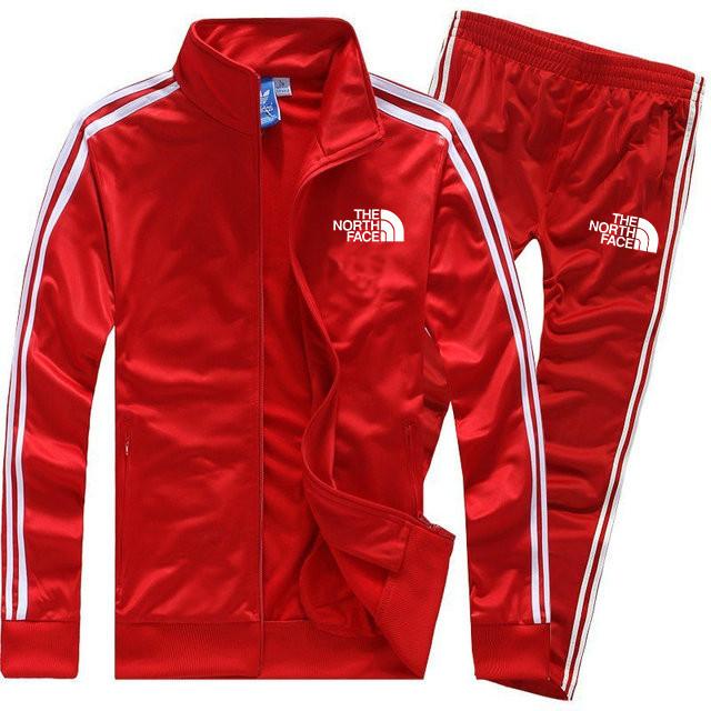 Мужской спортивный костюм The North Face красного цвета с лампасами  ( Норт Фейс)