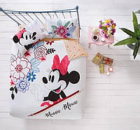 Двуспальное евро постельное белье TAC Disney M&M Watercolor Ранфорс (простынь на резинке)