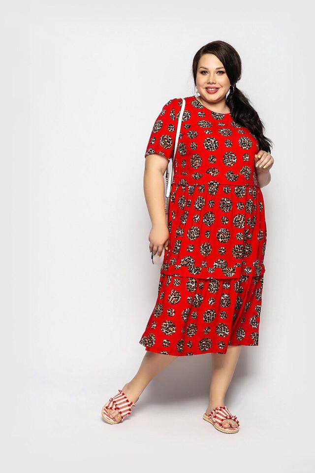Платье женское длинное из штапеля свободного кроя с принтом (К28236)