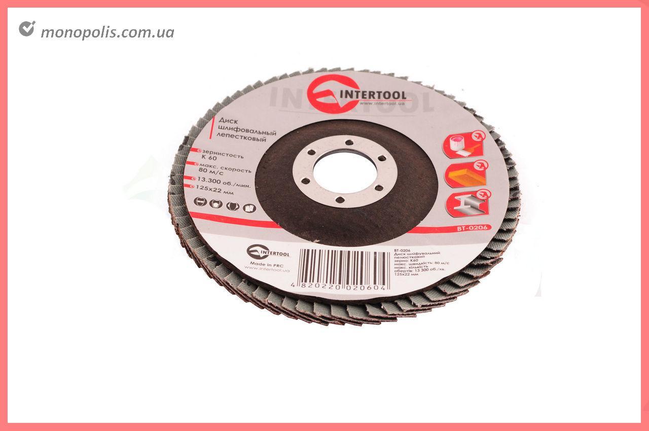 Круг лепестковый торцевой Intertool - 125 мм, Р100