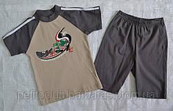 Річна піжама для хлопчиків Disco сіра/беж: футболка та шорти (OZTAS, Туреччина)