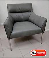 Лаунж-кресло Merida серая экокожа, на металлическом хромированном каркасе, стиль модерн
