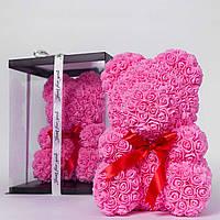 Мишка из роз в прозрачной подарочной коробке, 40 см розовый. Сделан в Украине - 141151