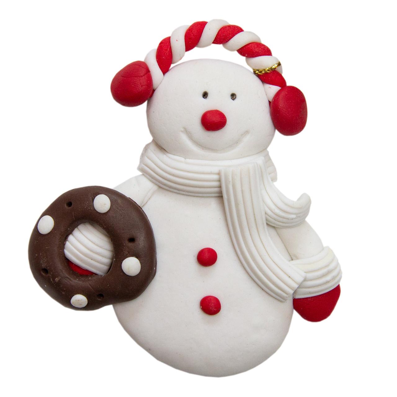Елочная Новогодняя сувенирная фигурка Снеговик, полирезин, 8см, (000661-4)