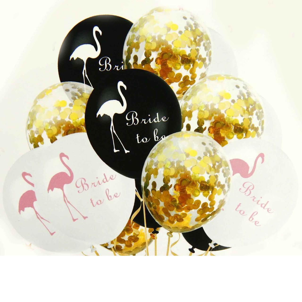 Набор воздушных латексных шаров с золотым конфетти Фламинго .10 шт.