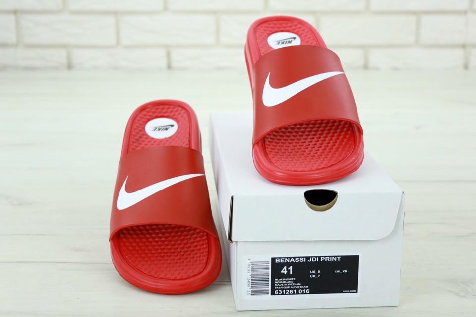 Nike Slippers Red, мужские шлепанцы найк. ТОП Реплика ААА класса.