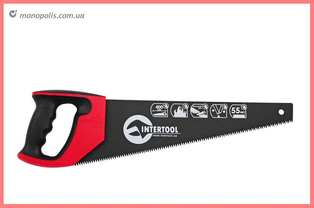 """Ножовка по дереву Intertool - 400 мм, тройная заточка 7T х 1"""" с тефлоновым покрытием, фото 2"""