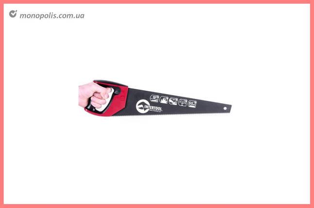 """Ножовка по дереву Intertool - 450 мм, тройная заточка 7T х 1"""" с тефлоновым покрытием, фото 2"""