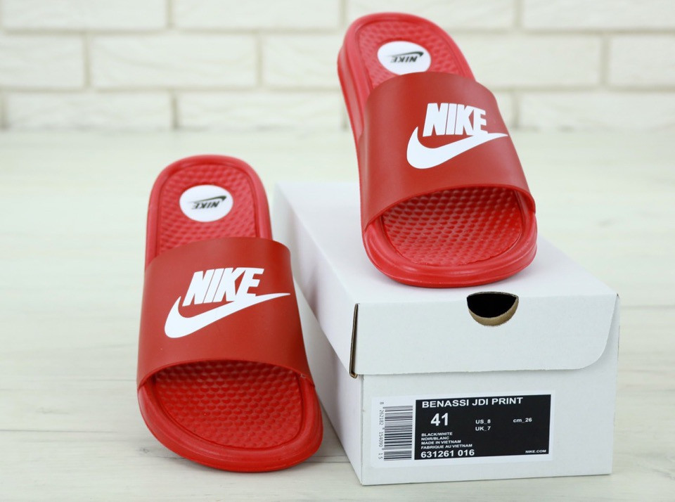 Nike Slippers Red, мужские шлепанцы найк. ТОП Реплика ААА класса.