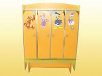 Шкаф 4-дверный для раздевалки — 1240х350х1560 мм