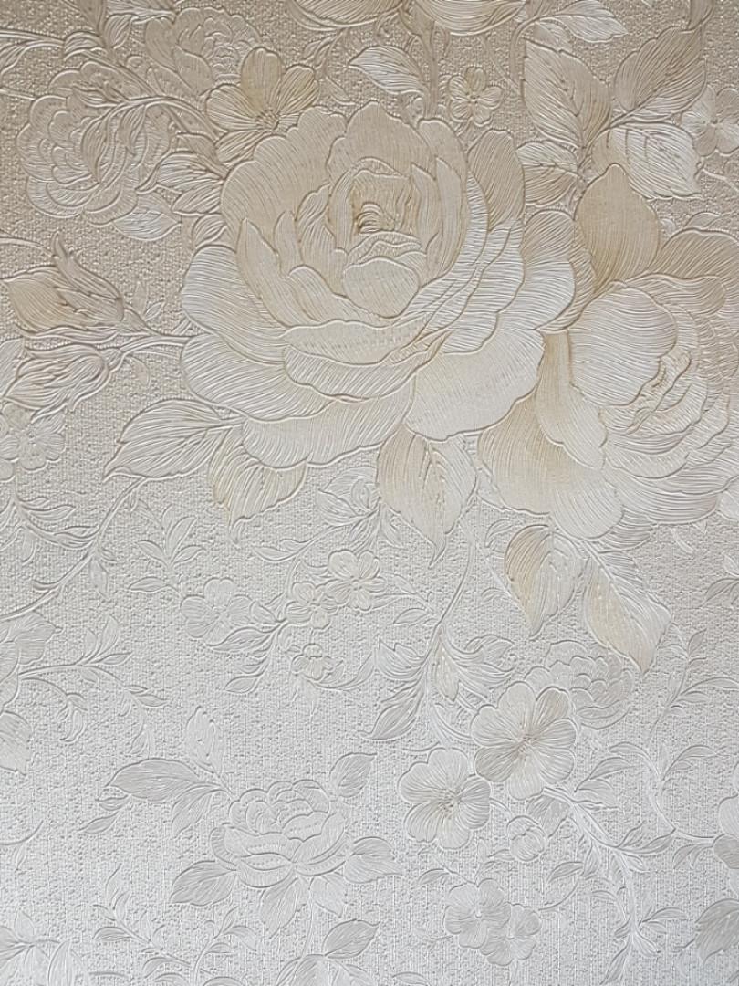 Обои  Marburg 30716 Home Classic BELVEDERE метровые классические молочные цветы вензеля серебристые