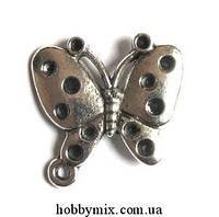"Метал. подвеска ""бабочка"" серебро (2,5х2,5 см) 4 шт в уп."