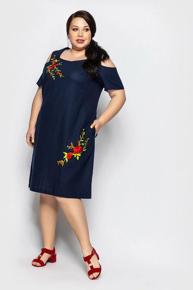 Платье женское длинное из льна с боковыми карманами украшеное аппликацией (К28239)