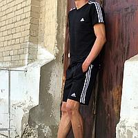 Спортивный костюм мужской летний Adidas черный футболка и шорты