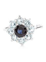 Кольцо серебряное с топазом и сапфиром