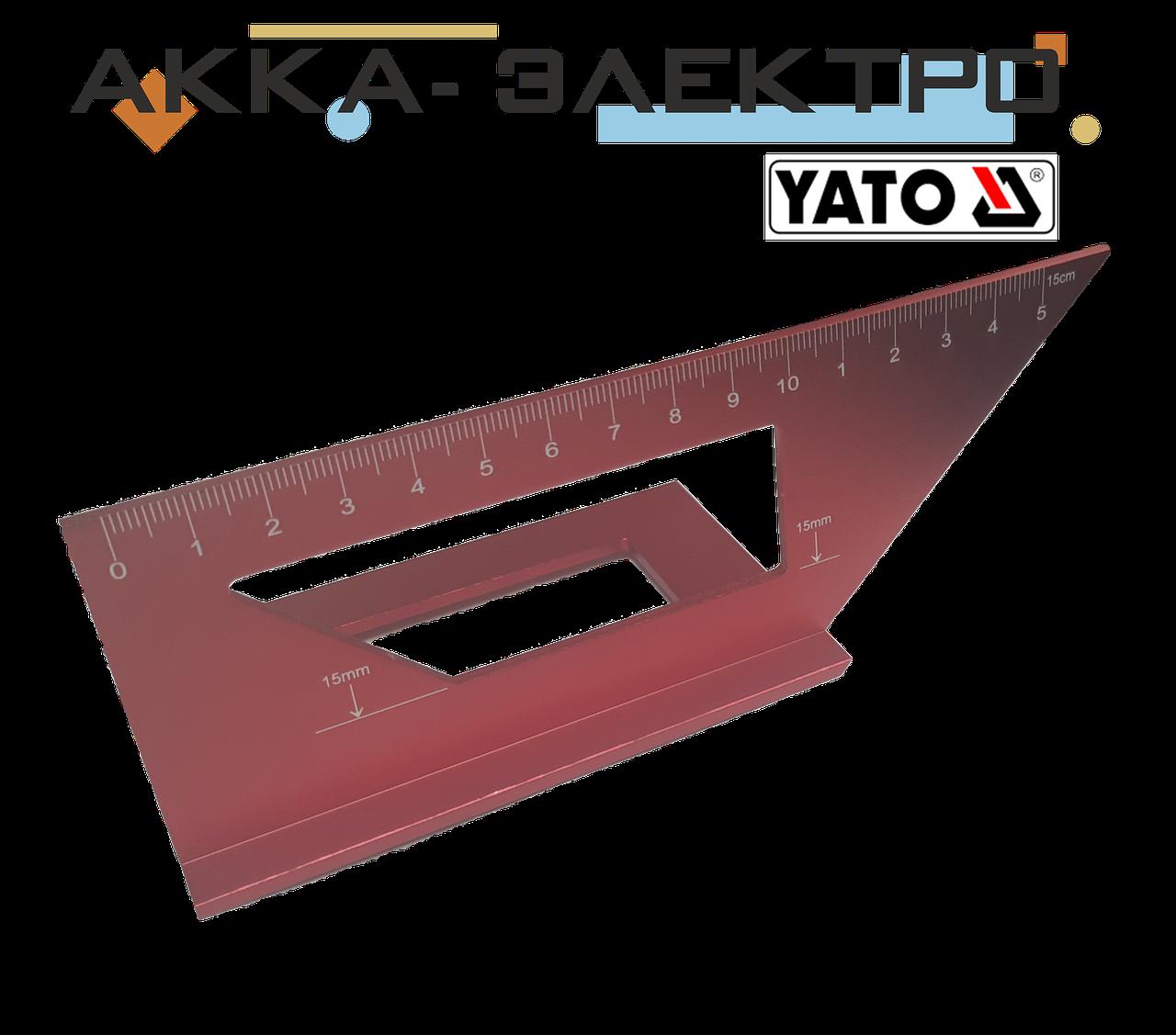 """Угольник  """"ЯПОНСКИЙ"""" алюминиевый YATO для углов 90° И 45° 150 мм"""