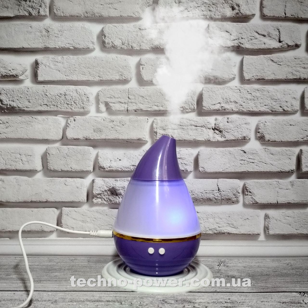 Увлажнитель воздуха 250 мл Вулкан/Капля ультразвуковой Фиолетовый. Увлажнитель воздуха для дома с подсветкой
