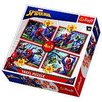 Пазл  В сетях Человека-паука, 4 пазла 35-48-54-70 элементов, Trefl, фото 1