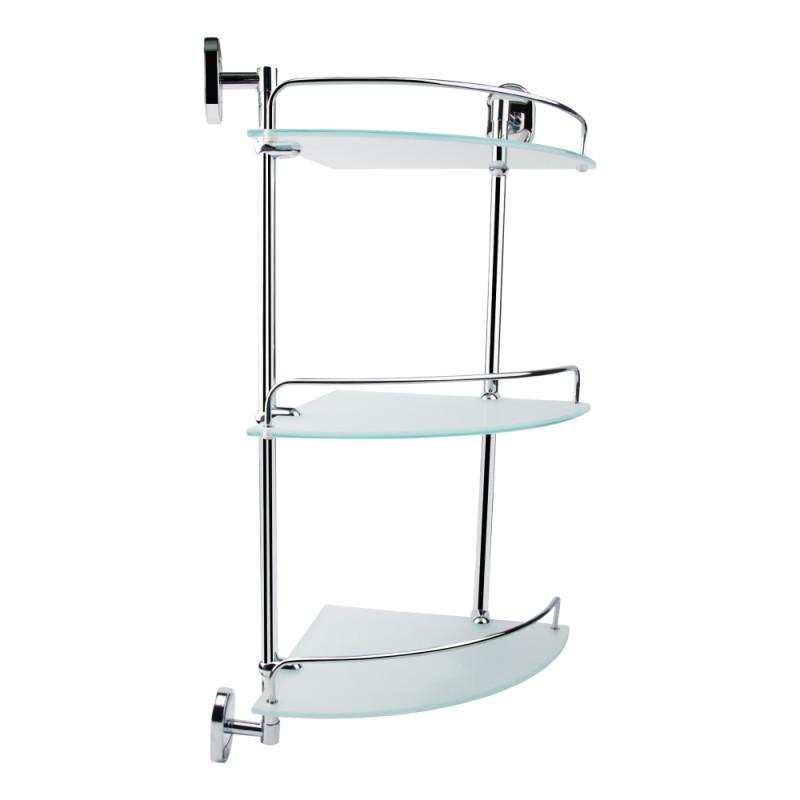 Стеклянная полочка 3-ярусная угловая для ванной комнаты GF Italy (CRM)/S- 2907-3