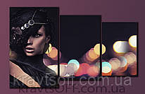 "Модульная картина на холсте из 3-х частей ""Девушка в шляпе"" ( 54х86 см )"