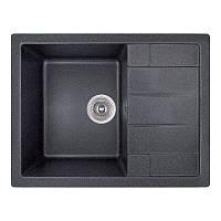 Кухонная гранитная мойка прямоугольная с крылом GF Italy 650x500x200 черный
