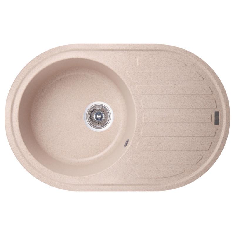 Гранитная кухонная мойка  овальная с крылом GF Italy (MAR-07) цвет песочный 780x500x200