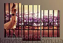 """Модульная картина на холсте из 3-х частей """"Девушка в длинном платье"""" ( 57.4х83 см )"""