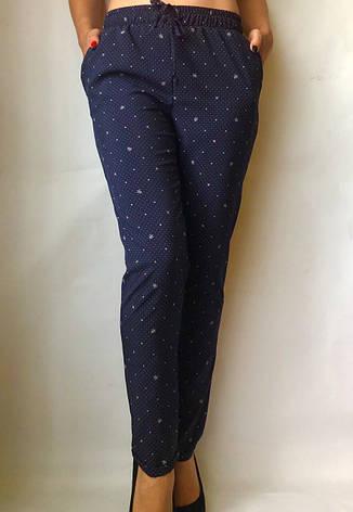 БАТАЛЬНЫЕ летние штаны N°17/1 горох синий, фото 2