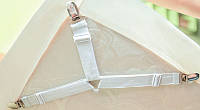 Фиксатор - держатель для постельного белья PlumHOME короткий универсальный 4 шт белый