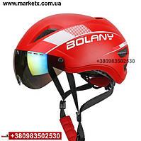 Велосипедный шлем BOLANY велошлем с защитными очками на магнитах