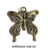 """Метал. подвеска """"бабочка"""" бронза (2,3х2,6 см) 8 шт в уп."""