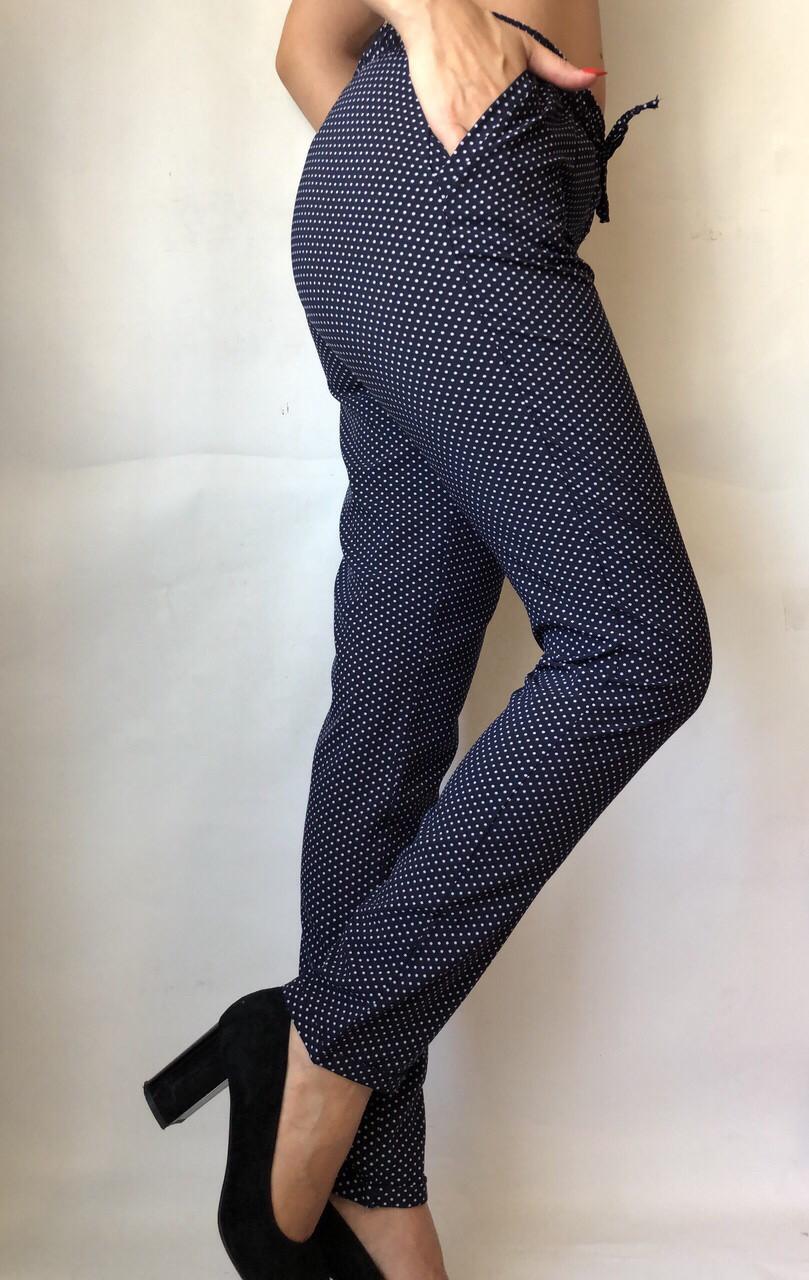 БАТАЛЬНЫЕ летние штаны N°17/2 горох синий