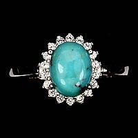 Кольцо натуральная природная Бирюза Аризона. Размер 19,5. Серебро 925 покрытое белым золотом 14 карат