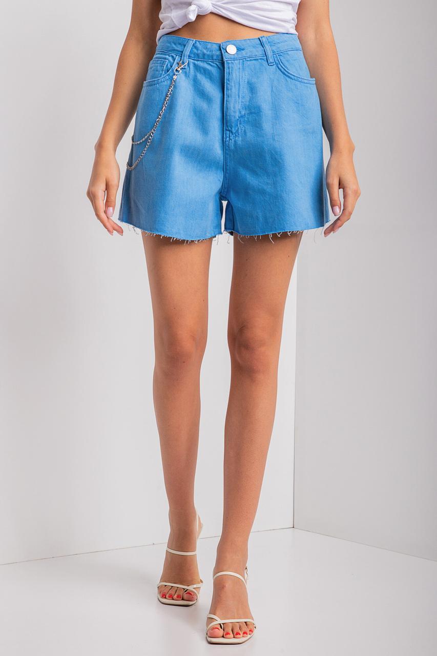 Голубые джинсовые шорты с высокой посадкой и необработанными краями