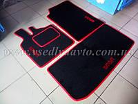 Текстильные коврики черно-красные для Smart Fortwo 450 (в салон и в багажник)